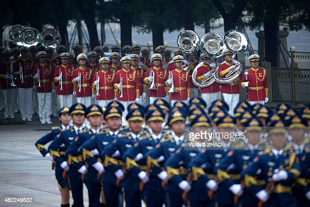 Chinese military band prepare to perform for Turkish President Recep Tayyip Erdogan and Chinese President Xi Jinping during a welcome ceremony...