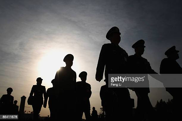 Chinese military delegates arrive for the closing session of the National People's Congress at the Great Hall of the People on March 13 2009 in...