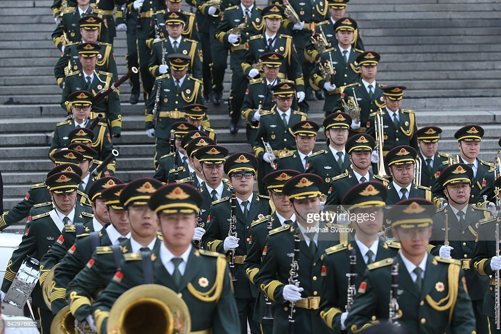 Chinese military orchestra arrive to the welcoming ceremony in June 25, 2016 in Beijing, China. Vladimir Putin is having a state visit to China.