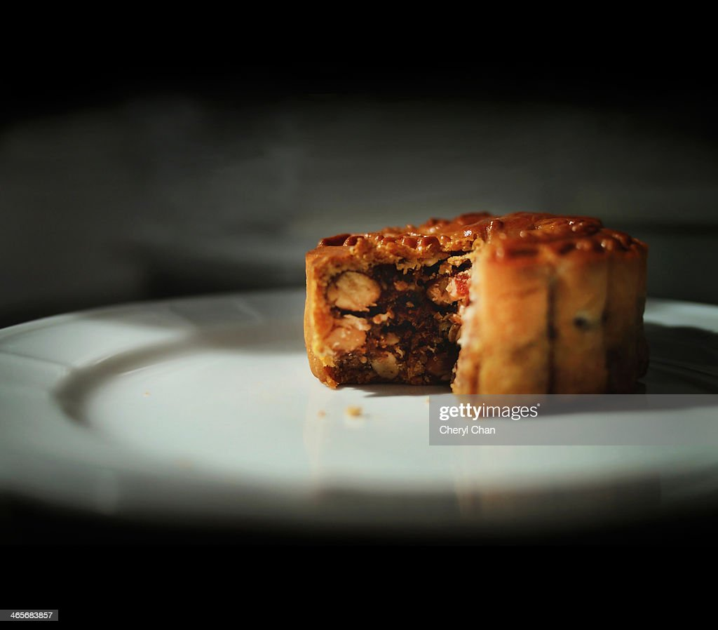 Chinese mooncake with assorted nuts filling : Stock Photo