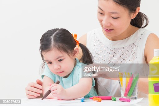 Chinese Mother and Daughter Colouring In