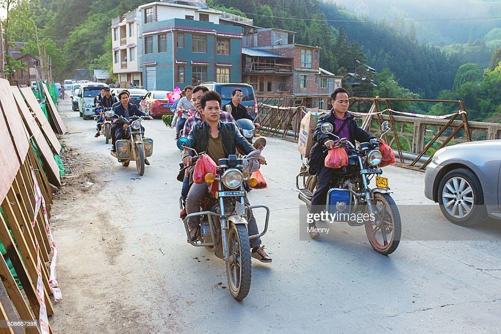 Chinese Motorcycling Traffic National Road 321 Duliu River China : Stock Photo