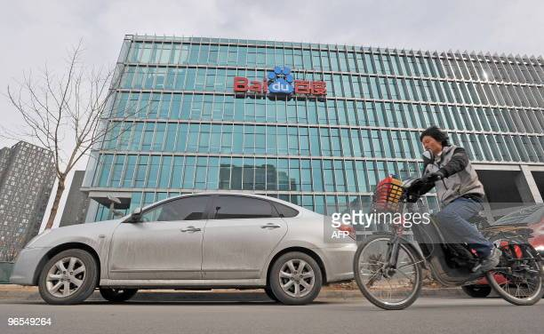 Chinese motorists pass by the Chinese Web search giant Baidu's headoffice in Beijing on February 10 2010 The Nasdaqlisted Baidu said net profit rose...