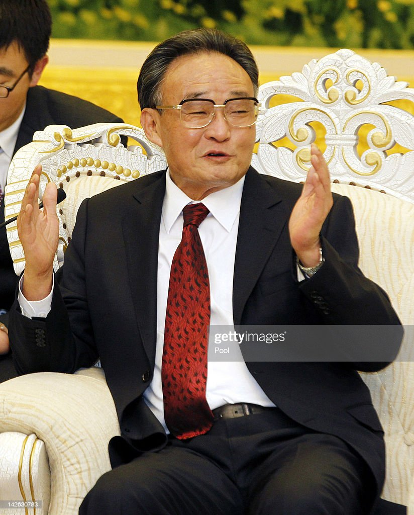 Chinese National Peoples Congress Standing Committee Chairman, <a gi-track='captionPersonalityLinkClicked' href=/galleries/search?phrase=Wu+Bangguo&family=editorial&specificpeople=604934 ng-click='$event.stopPropagation()'>Wu Bangguo</a> holds talks with Turkish Prime Minister Recep Tayyip Erdogan (not pictured) at the Great Hall of the People on April 10, 2012 in Beijing, China. Erdogan's visit, the first by a Turkish leader in 27 years, comes following yesterday's attacks by Syrian troops on a refugee camp located on the Turkish border. The visit aims to bolster business ties between Turkey and China.