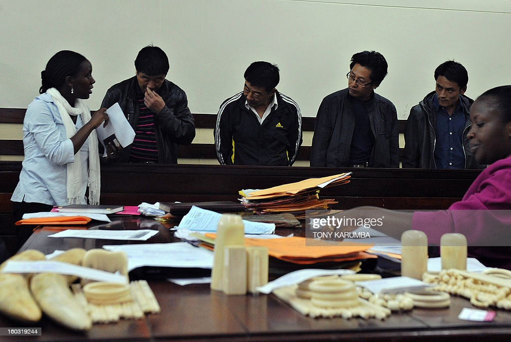 Chinese nationals, [from left] Qu Rongjun [2-L], Liu Xuefeng, Gu Guisheng and Wang Chengbang appear in court on January 29, 2013 in Nairobi to answer charges of smuggling illegal ivory. The four Chinese men pleaded guilty to smuggling thousands of dollars worth of ivory and were handed fines of just $340 each. The four men were arrested on Sunday carrying ivory products including 40 chopsticks, six necklaces, bracelets and a pen holder, as well as two pieces of raw ivory weighing 9.6 kilogrammes; the raw ivory alone carrying an estimated black market value of value $24,000 in Asia. AFP PHOTO/Tony KARUMBA