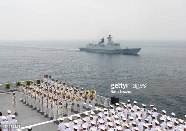 Chinese navy holds memorial ceremony for 120th anniversary of the first SinoJapanese War on August 27 2014 in Weihai Shandong province of China The...