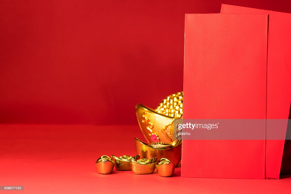 Nouvel an chinois, la décoration, ornements sur rouge arr.plans Faste : Photo