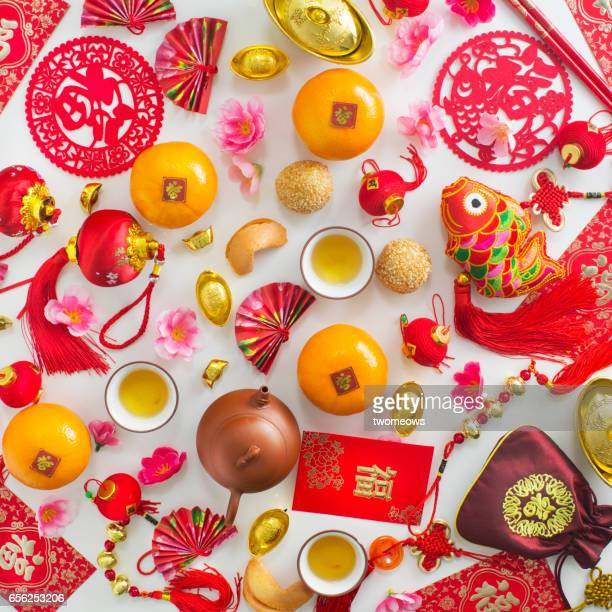 Chinese New Year related objects on white background.