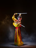 Chinese opera character with knives (Yu Ji)