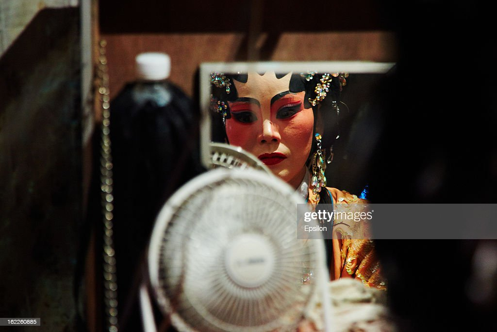 AYUTTHAYA, THAILAND - FEBRUARY 11. Chinese Opera performer prepares backstage on February 11, 2013 in Ayutthaya, Thailand.