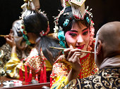Chinese opera singer applying makeup to male