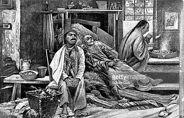 Chinese opium den in San Francisco California c1880s Illustration by Bohuslav Kroupa