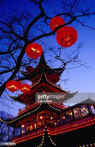 Chinese pagoda in Copenhagen's historic Tivoli Gardens.