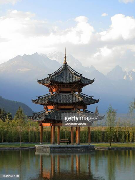 Chinese Pagoda Pavilion with Mountains in Background