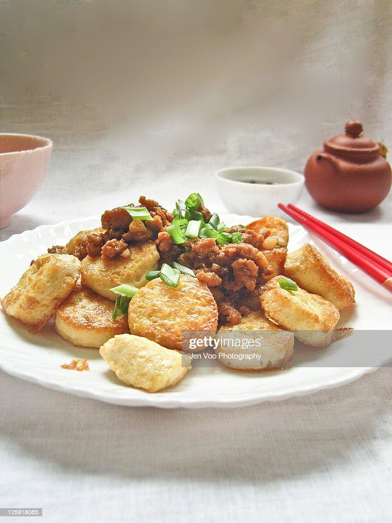Chinese pan fried egg Tofu with pork : Stock Photo