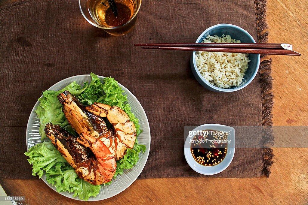 Chinese pan-fried giant prawns : Stock Photo