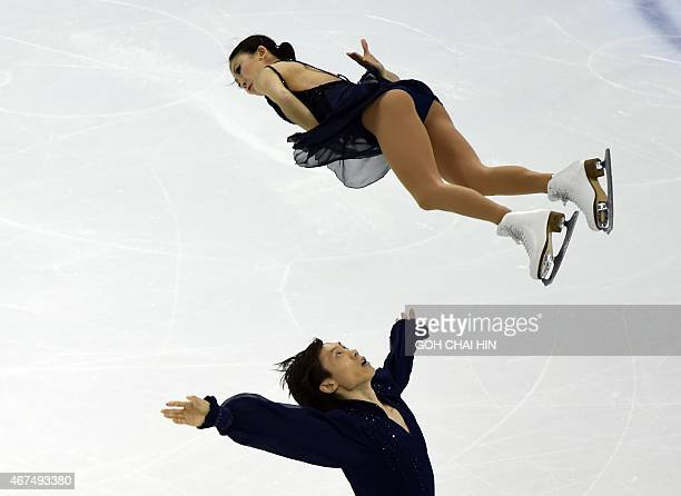 Chinese Pang Qing and Tong Jian compete on March 25 2015 in the pairs short program during the 2015 ISU World Figure Skating Championships at the...