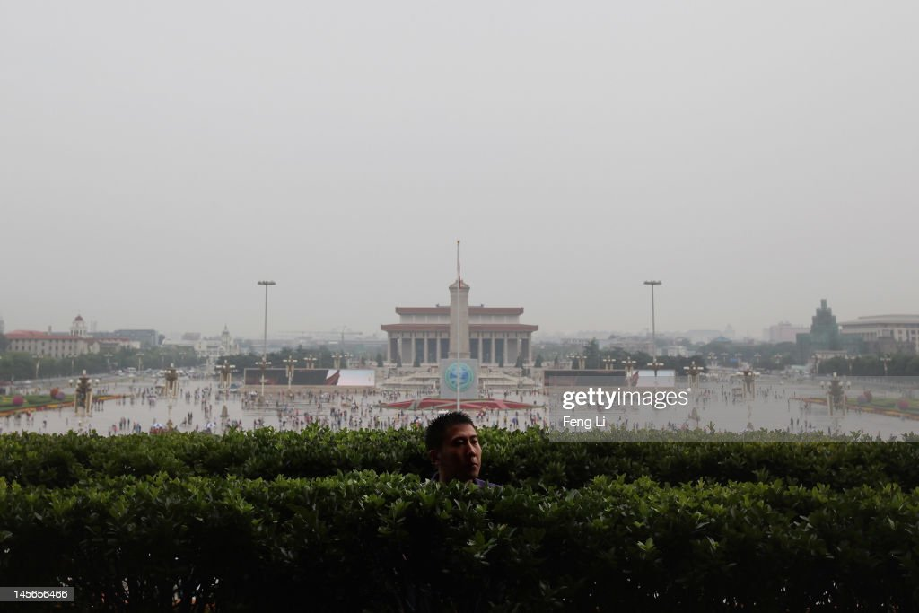 A Chinese paramilitary policeman guards on the Tiananmen Rostrum on June 3, 2012 in Beijing, China.