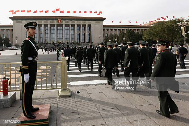 Chinese paramilitary policemen guard in front of the Great Hall Of The People on November 7 2012 in Beijing China The18th National Congress of the...