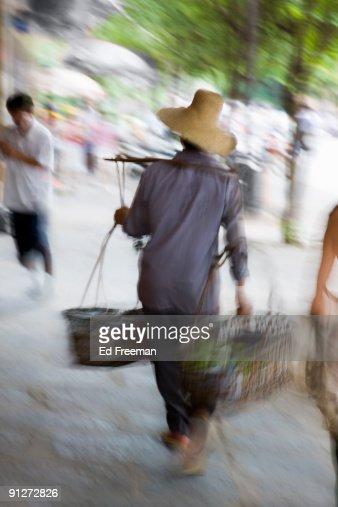 Chinese Peasant, Yangshuo : Stock Photo