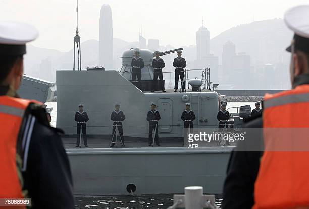 A Chinese People's Liberation Army vessel arrives at a ceremony to welcome them to Hong Kong 25 November 2007 PLA troops usually spend a year in Hong...