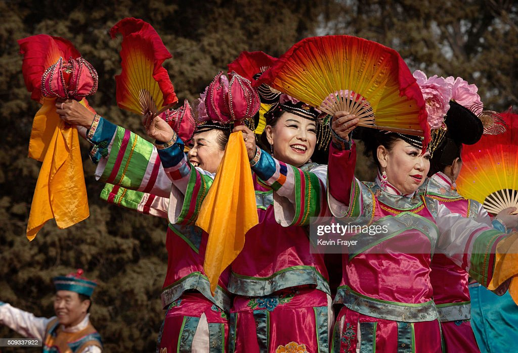 Chinese performers dance on stage at a local fair during Spring Festival celebrations on February 10, 2016 in Beijing, China. The Chinese Lunar New Year also known as the Spring Festival, which is based on the Lunisolar Chinese calendar, is celebrated from the first day of the first month of the lunar year and ends with Lantern Festival on the fifteenth day. This new year marks the Year of the Monkey.