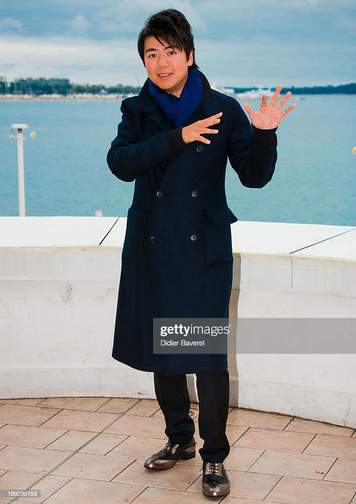 Chinese Pianist Lang Lang poses during the photocall of 47th Midem at Palais des Festivals on January 28, 2013 in Cannes, France.