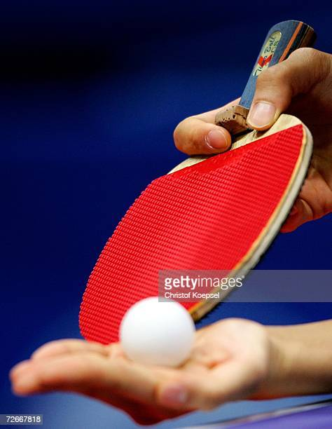 Chinese player grips the racquet before a serve during the Women's Team round one at 15th Asian Games Doha 2006 at AlArabi Indoor Hall November 29...
