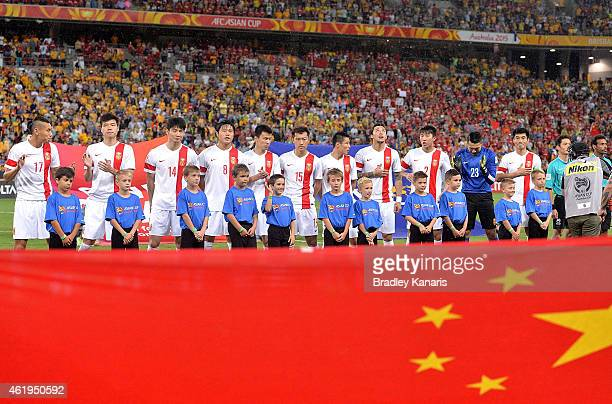 Chinese players embrace for the national anthem before during the 2015 Asian Cup match between China PR and the Australian Socceroos at Suncorp...