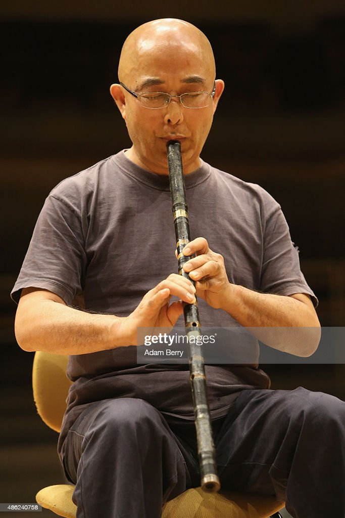 Chinese poet Liao Yiwu practices his xiao, or Chinese flute, as he waits for the beginning of a panel discussion at the Berlin International Literature Festival on September 2, 2015 in Berlin, Germany. Chinese dissident artist Ai Weiwei and Liao participated in a conversation about literature, contemporary art, and their relationships with Chinese authorities. Liao had been imprisoned for four years in 1989, and in 2011, Ai was detained and beaten by security officials and then imprisoned for 81 days, only to reclaim his passport this past July, after which he went to Germany to meet his his partner Wang Fen and their son Ai Lao.