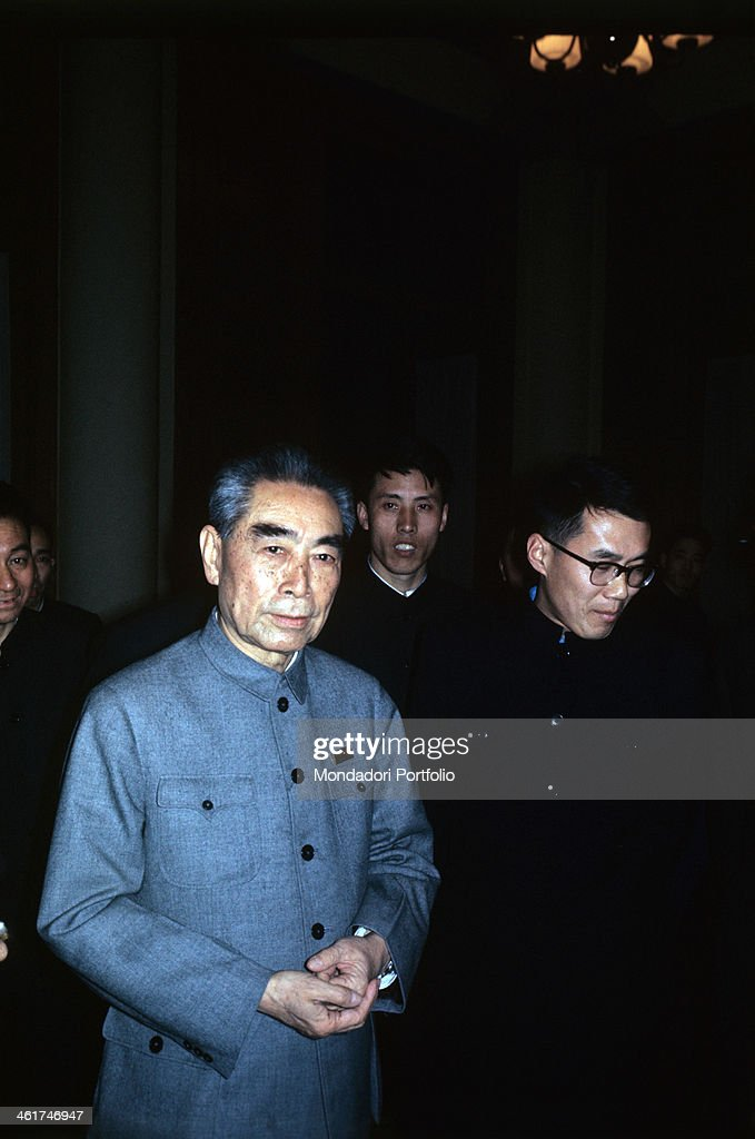 Chinese politician and Premier of People's Republic of China Zhou Enlai walking Beijing 1973