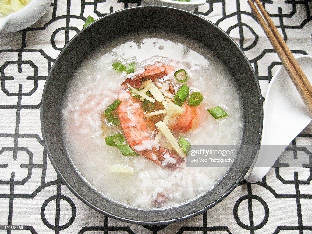 Chinese prawn congee : Stock Photo