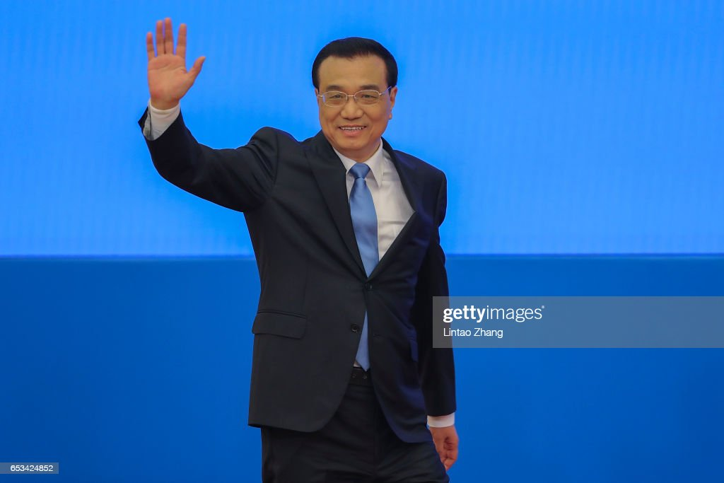 Chinese Premier Li Keqiang arrives at press conference after the closing of the Fifth Session of the 12th National People's Congress (NPC) at the Great Hall of the People on March 15, 2017 in Beijing, China.