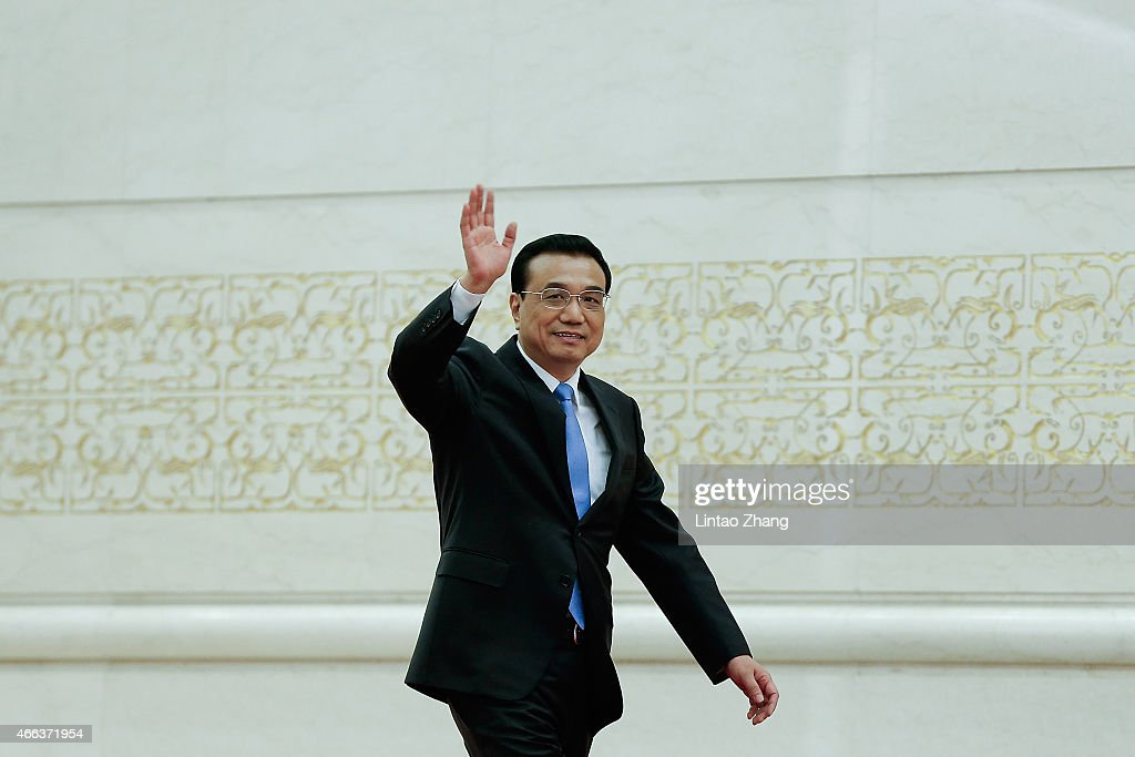 Chinese Premier <a gi-track='captionPersonalityLinkClicked' href=/galleries/search?phrase=Li+Keqiang&family=editorial&specificpeople=2481781 ng-click='$event.stopPropagation()'>Li Keqiang</a> arrives for his press conference after the closing session of the 12th National People's Congress (NPC) at the Great Hall of the People on March 15, 2015 in Beijing, China.