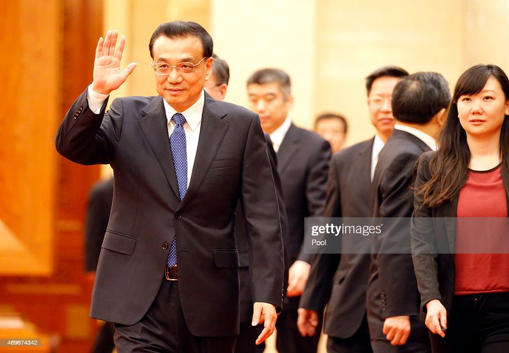 Chinese Premier <a gi-track='captionPersonalityLinkClicked' href=/galleries/search?phrase=Li+Keqiang&family=editorial&specificpeople=2481781 ng-click='$event.stopPropagation()'>Li Keqiang</a> before a meeting at the Great Hall of the People on April 14, 2015 in Beijing, China.