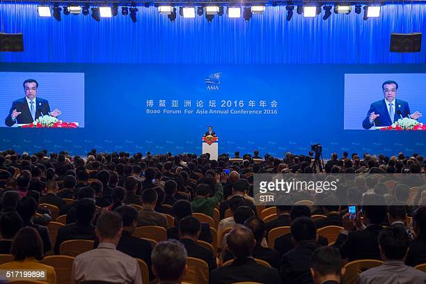 Chinese Premier Li Keqiang delivers a speech at the opening ceremony of the Boao Forum for Asia annual conference in Boao south China's Hainan...