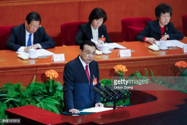 Chinese Premier Li Keqiang delivers his report during the opening session of the National People's Congress at The Great Hall of People on March 5...
