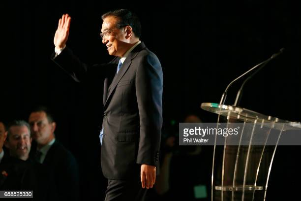 Chinese Premier Li Keqiang during a Trade and Enterprise function at the Langham Hotel on March 28 2017 in Auckland New Zealand The Chinese Premier's...