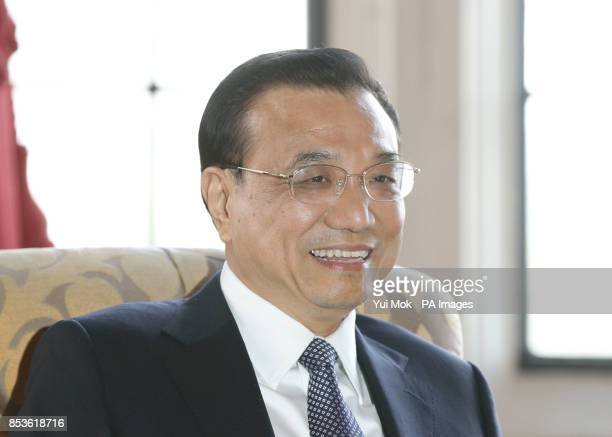 Chinese Premier Li Keqiang during his meeting with the Lord Speaker Baroness D'Souza in the River Room during his visit to the House of Lords in...