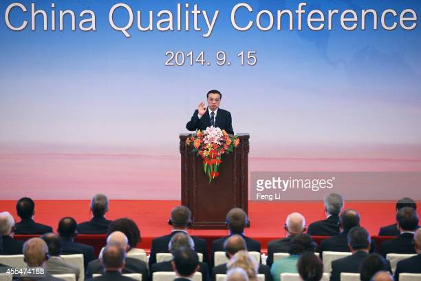 Chinese Premier Li Keqiang gives a speech during the opening session of the 1st China Conference of Quality at The Great Hall Of The People on...