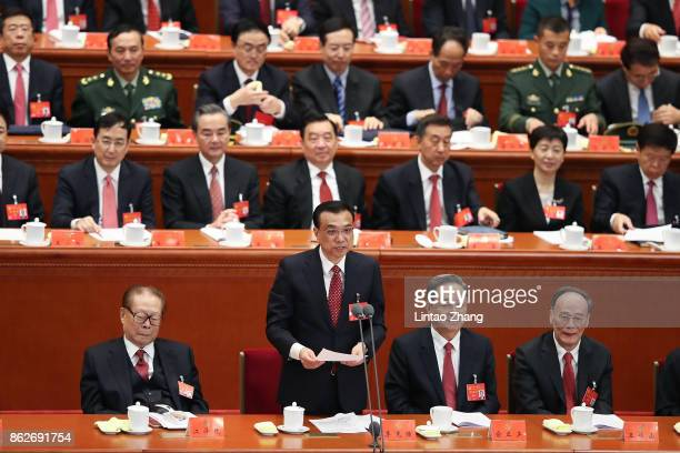 Chinese Premier Li Keqiang gives a speech during the opening session of the 19th Communist Party Congress held at the Great Hall of the People on...