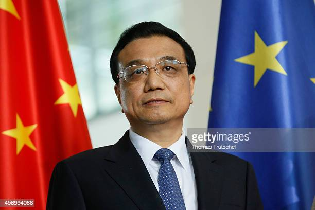 Chinese Premier Li Keqiang is pictured during a signing ceremony at Chancellery on October 10 2014 in Berlin Germany The visit is Li's second visit...