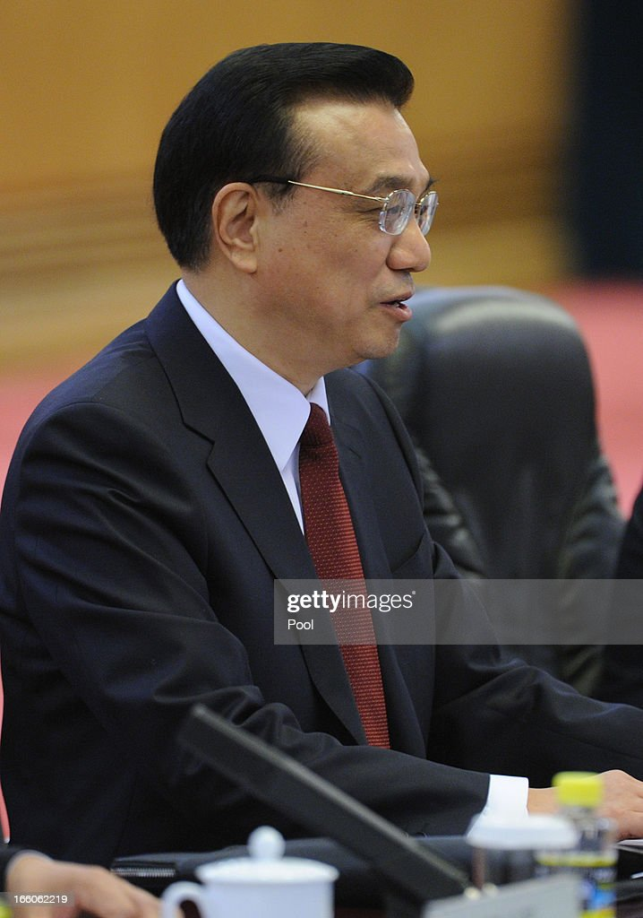 Chinese premier <a gi-track='captionPersonalityLinkClicked' href=/galleries/search?phrase=Li+Keqiang&family=editorial&specificpeople=2481781 ng-click='$event.stopPropagation()'>Li Keqiang</a> is seen at Great Hall of the People in Beijing on April 8, 2013 in China.