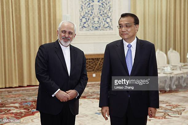 Chinese Premier Li Keqiang meets with Iranian Foreign Minister Javad Zarif at the Great Hall of the People on September 15 2015 in Beijing China...