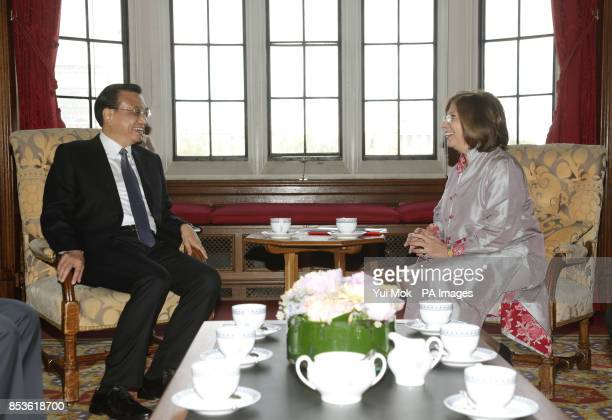 Chinese Premier Li Keqiang meets with the Lord Speaker Baroness D'Souza in the River Room during his visit to the House of Lords in London