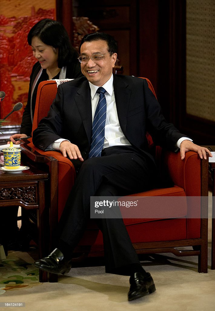 Chinese Premier <a gi-track='captionPersonalityLinkClicked' href=/galleries/search?phrase=Li+Keqiang&family=editorial&specificpeople=2481781 ng-click='$event.stopPropagation()'>Li Keqiang</a> smiles as he talks with U.S. Treasury Secretary Jacob Lew during their meeting at the Zhongnanhai diplomatic compound on March 20, 2013 in Beijing, China. The U.S. Treasury Secretary is in China for wide-ranging talks with Chinese President Xi Jinping and Chinese Premier <a gi-track='captionPersonalityLinkClicked' href=/galleries/search?phrase=Li+Keqiang&family=editorial&specificpeople=2481781 ng-click='$event.stopPropagation()'>Li Keqiang</a> over the global economy, the exchange rate, trade, cyber-security and North Korea's nuclear programme. US Treasury secretary Jacob Lew met with the newly-elected President of China on Tuesday, Xi Jinping's first meeting with a foreign official since being appointed.