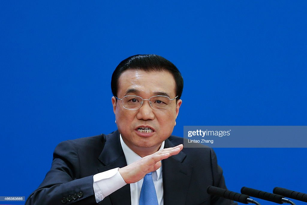 Chinese Premier <a gi-track='captionPersonalityLinkClicked' href=/galleries/search?phrase=Li+Keqiang&family=editorial&specificpeople=2481781 ng-click='$event.stopPropagation()'>Li Keqiang</a> speaks during a press conference after the closing session of the 12th National People's Congress (NPC) at the Great Hall of the People on March 15, 2015 in Beijing, China.