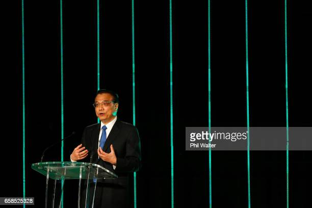 Chinese Premier Li Keqiang speaks during a Trade and Enterprise function at the Langham Hotel on March 28 2017 in Auckland New Zealand The Chinese...