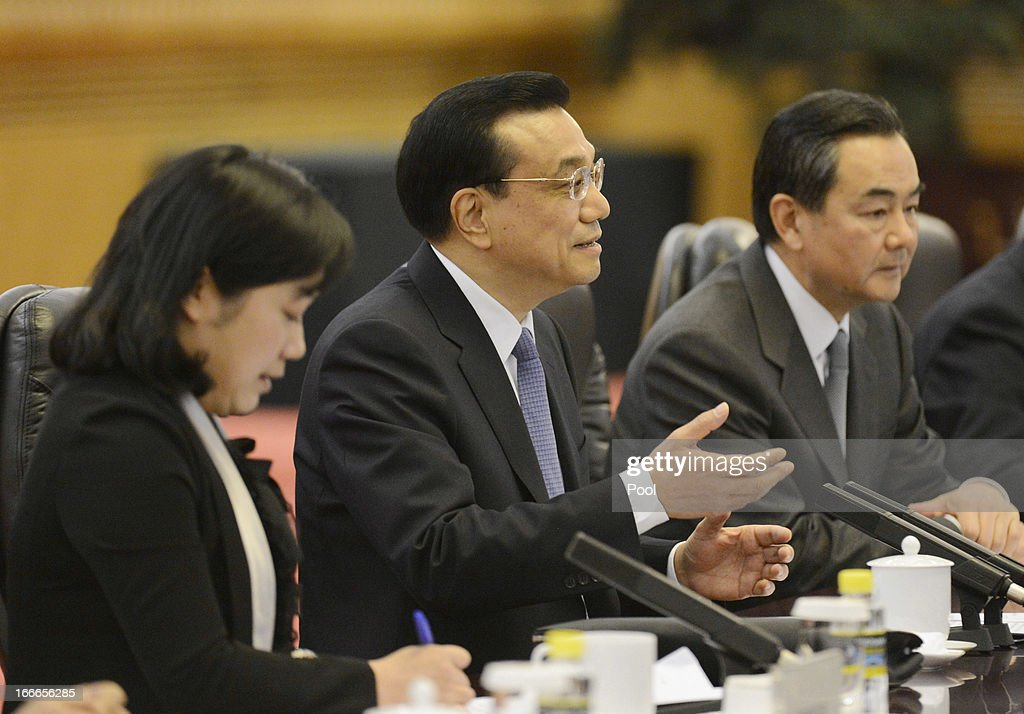 Chinese Premier <a gi-track='captionPersonalityLinkClicked' href=/galleries/search?phrase=Li+Keqiang&family=editorial&specificpeople=2481781 ng-click='$event.stopPropagation()'>Li Keqiang</a> (C) speaks to Iceland's Prime Minister Johanna Sigurdardottir (not pictured) during a meeting at the Great Hall of the People on April 15, 2013 in Beijing, China. During her five day official visit to China, Prime Minister of Iceland Johanna Sigurdardottir is holding talks with China's Premier <a gi-track='captionPersonalityLinkClicked' href=/galleries/search?phrase=Li+Keqiang&family=editorial&specificpeople=2481781 ng-click='$event.stopPropagation()'>Li Keqiang</a> concerning bilateral trade relations and a free trade agreement. (Photo by Yohsuke Mizuno - Pool/Getty Images