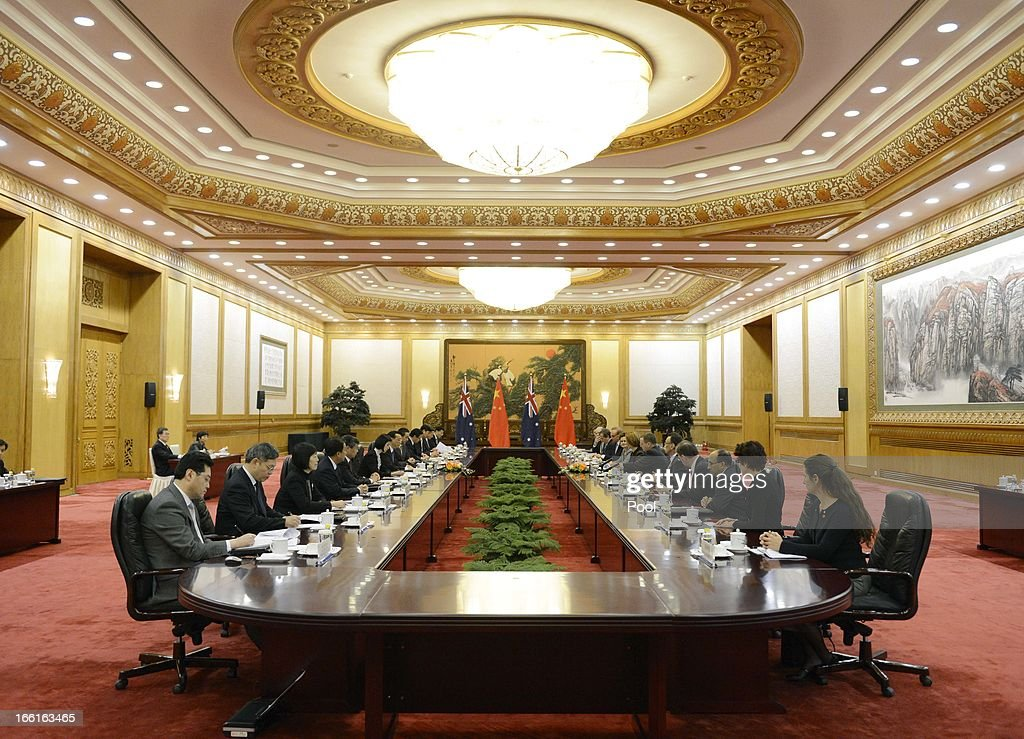 Chinese Premier Li Keqiang speaks with Australia Prime Minister Julia Gillard during a meeting at the Great Hall of the People on April 9, 2013 in Beijing, China. Gillard spoke of building stronger defense ties with China.
